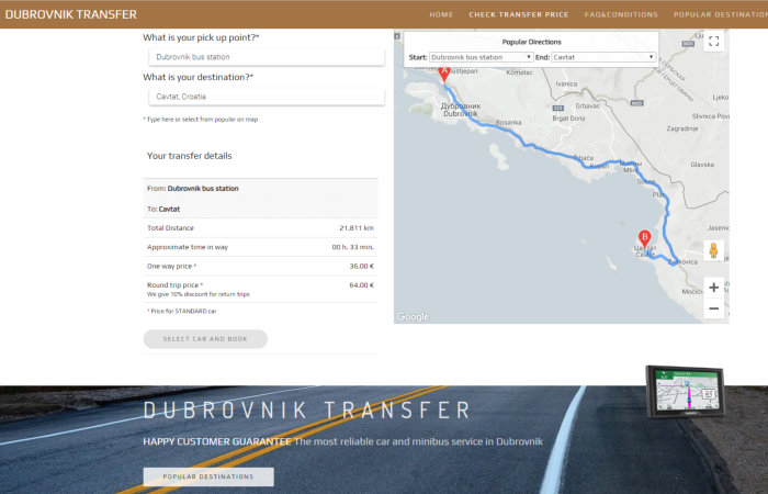 Dmitry Hans webmaster website Taxi service «Dubrovnic Transfer»